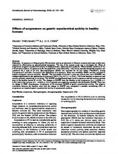 Effects of acupressure on gastric myoelectrical activity in healthy humans
