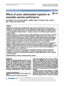 Effects of acute carbohydrate ingestion on anaerobic ... - Springer Link