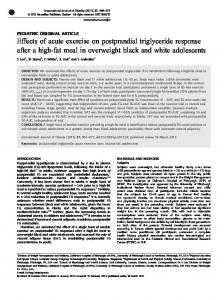 Effects of acute exercise on postprandial triglyceride ... - Nature