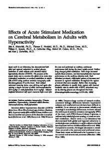 Effects of Acute Stimulant Medication on Cerebral Metabolism ... - Nature