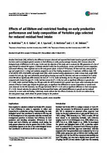 Effects of ad libitum and restricted feeding on early production ...