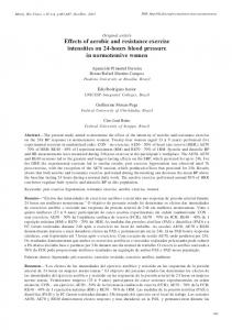 Effects of aerobic and resistance exercise intensities on 24 ... - SciELO