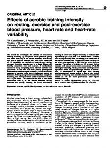 Effects of aerobic training intensity on resting ... - Semantic Scholar