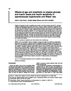 Effects of age and anesthetic on plasma glucose and ...