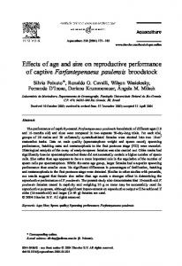 Effects of age and size on reproductive performance of captive ...