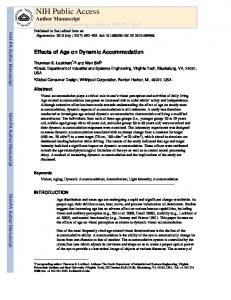 Effects of Age on Dynamic Accommodation