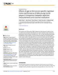 Effects of age on the soccer-specific cognitive ... - Semantic Scholar