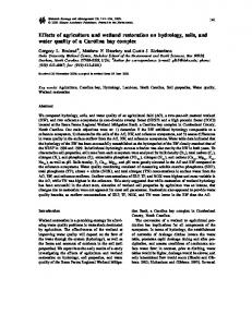 Effects of agriculture and wetland restoration on hydrology, soils, and ...