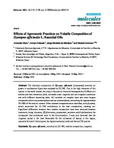 Effects of Agronomic Practices on Volatile Composition of ... - MDPI