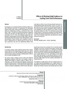 Effects of Altering Pedal Cadence on Cycling Time