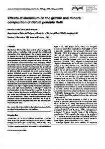 Effects of aluminium on the growth and mineral ... - Semantic Scholar