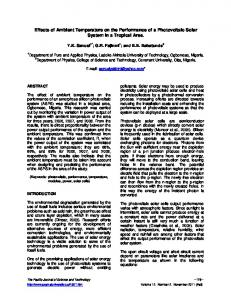 Effects of Ambient Temperature on the Performance of a Photovoltaic ...