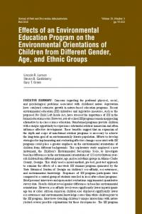 Effects of an Environmental Education Program on the Environmental ...