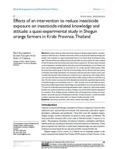 effects of an intervention to reduce insecticide exposure ... - CiteSeerX