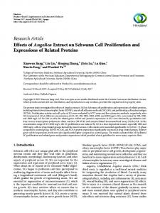 Effects of Angelica Extract on Schwann Cell Proliferation and ...