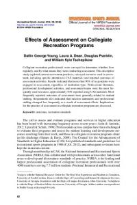 Effects of Assessment on Collegiate Recreation ...
