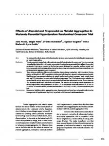 Effects of Atenolol and Propranolol on Platelet Aggregation in ... - MEFST