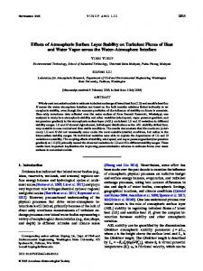 Effects of Atmospheric Surface Layer Stability on Turbulent Fluxes of ...