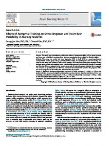 Effects of Autogenic Training on Stress Response and Heart Rate ...