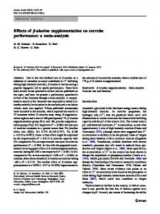 Effects of b-alanine supplementation on exercise ... - BioMedSearch