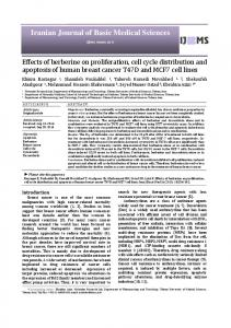 Effects of berberine on proliferation, cell cycle distribution and ...