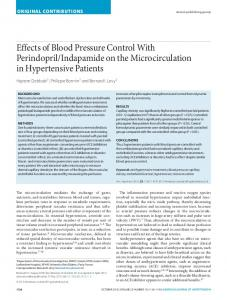 Effects of Blood Pressure Control With Perindopril/Indapamide on the ...