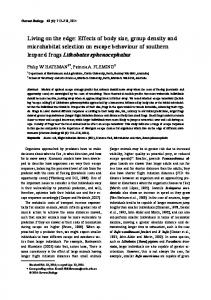 Effects of body size, group density and microhabitat selection on ...