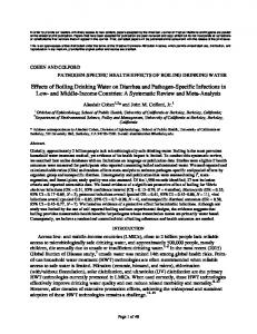 Effects of Boiling Drinking Water on Diarrhea and ...