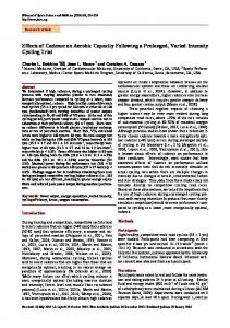 Effects of Cadence on Aerobic Capacity Following a Prolonged ...
