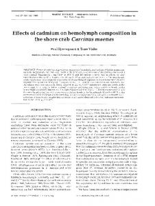 Effects of cadmium on hemolymph composition in the ... - Inter Research