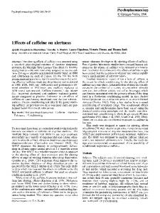 Effects of caffeine on alertness - Springer Link
