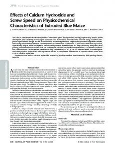 Effects of Calcium Hydroxide and Screw Speed on Physicochemical ...