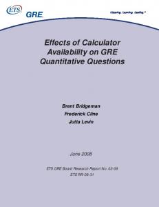Effects of Calculator Availability on GRE Quantitative Questions - ETS