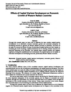 Effects of Capital Markets Development on Economic ... - SSRN papers