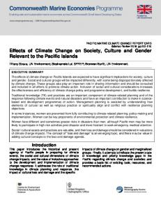 Effects of Climate Change on Society, Culture and Gender ... - Gov.uk