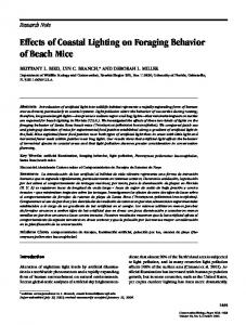 Effects of Coastal Lighting on Foraging Behavior of Beach Mice