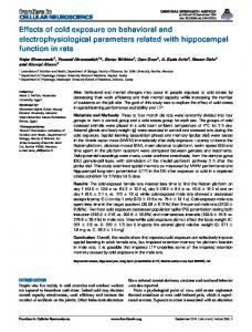Effects of cold exposure on behavioral and