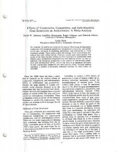 Effects of Cooperative, Competitive, and Individualistic