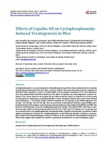 Effects of Copaiba Oil on Cyclophosphamide