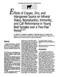 Effects of Copper, Zinc, and Manganese Source on Mineral Status ...