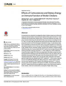 Effects of Corticosterone and Dietary Energy on Immune Function of