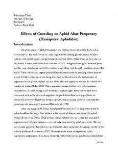 Effects of Crowding on Aphid Alate Frequency ...