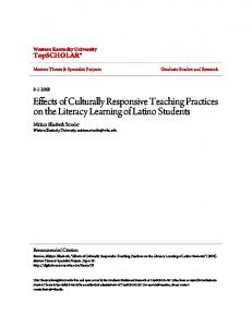 Effects of Culturally Responsive Teaching Practices