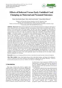 Effects of Deferred Versus Early Umbilical Cord Clamping on Maternal