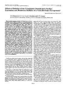 Effects of Deletion of the Cytoplasmic Domain upon Surface ...