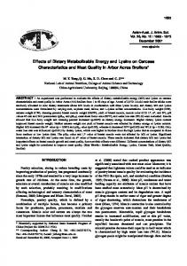 Effects of Dietary Metabolizable Energy and Lysine on Carcass ...