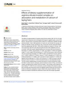 Effects of dietary supplementation of arginine-silicate-inositol ... - PLOS