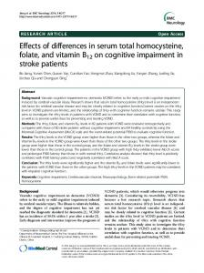 Effects of differences in serum total homocysteine, folate, and vitamin ...