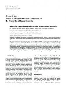 Effects of Different Mineral Admixtures on the Properties of Fresh