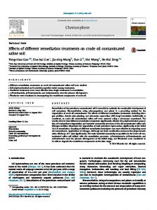 Effects of different remediation treatments on crude oil contaminated ...